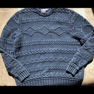 Men's XL cable knit sweater navy blue Lands End